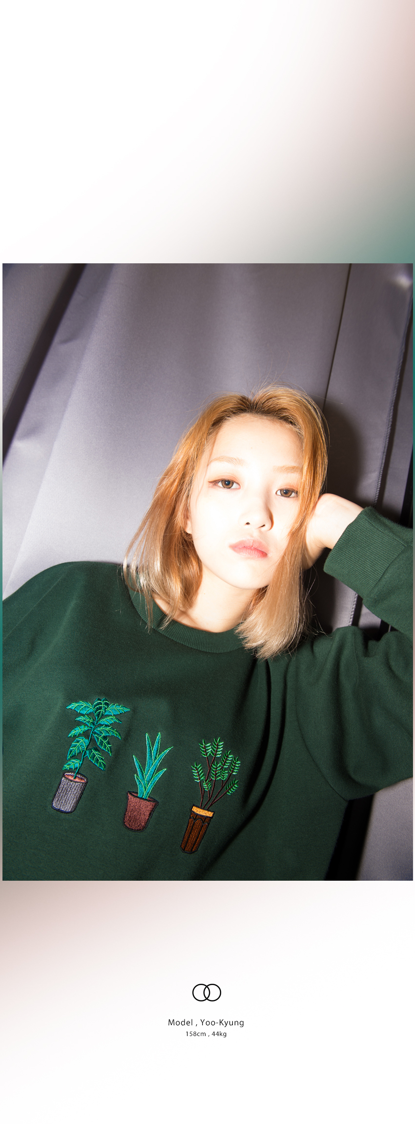 Embroidered Potted Plant Detail Sweatshirt|